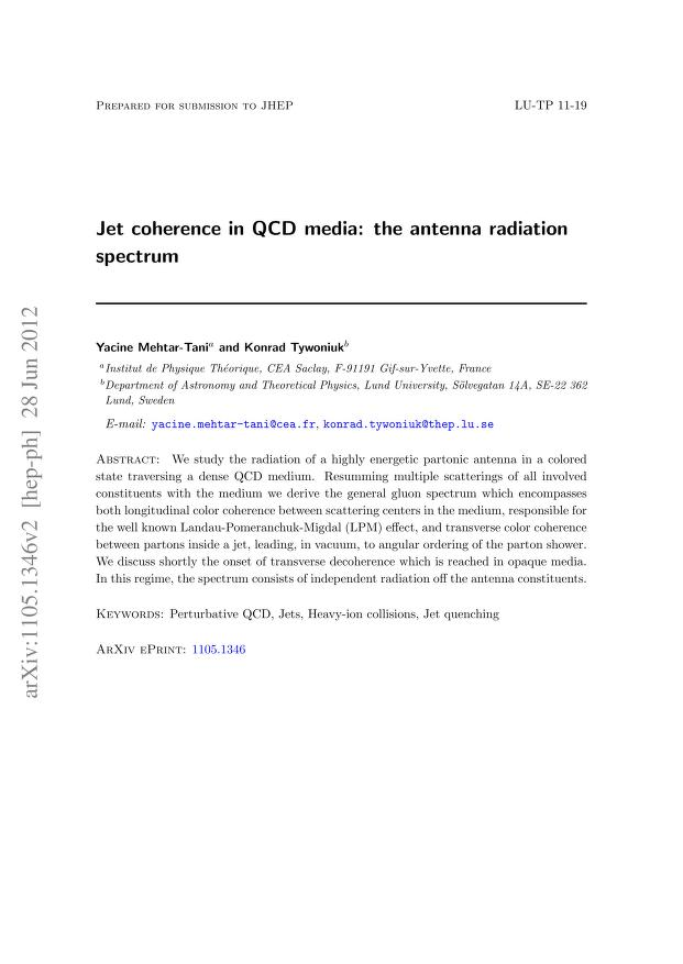 Yacine Mehtar-Tani - Jet coherence in QCD media: the antenna radiation spectrum