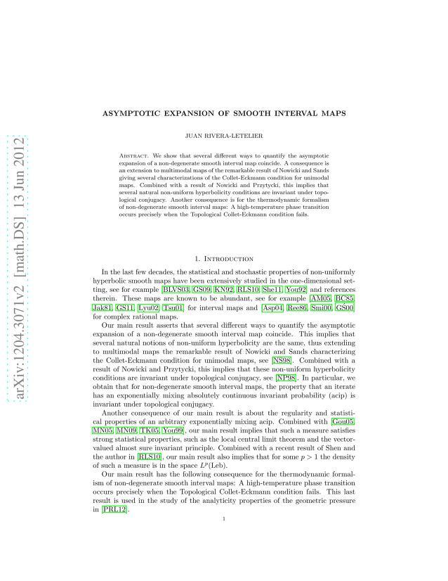 Juan Rivera-Letelier - Asymptotic expansion of smooth interval maps