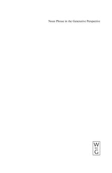 Noun phrase in the generative perspective by Artemis Alexiadou